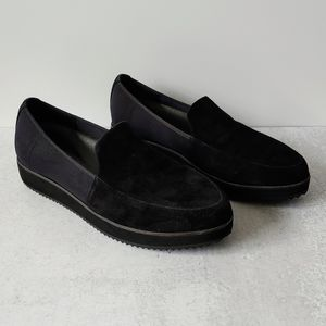 Eileen Fisher Dell Loafers  Black Suede Platform
